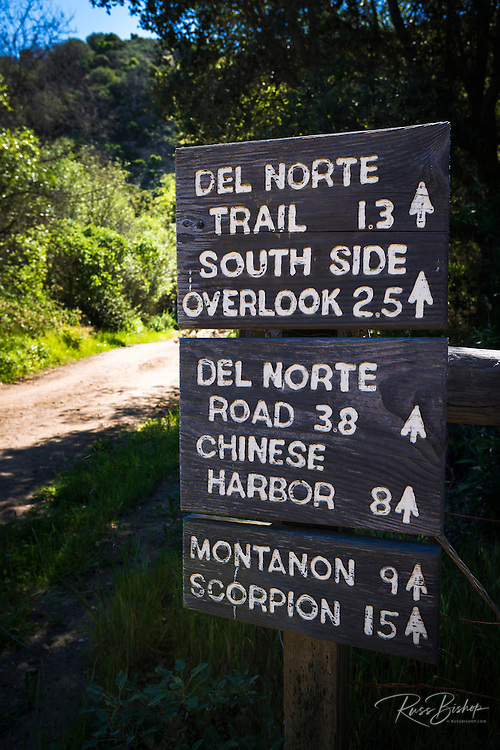 Trail sign, Santa Cruz Island, Channel Islands National Park, California USA