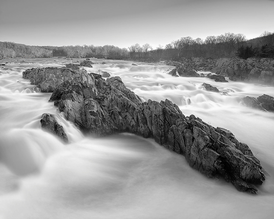Limited edition photograph of a rocky formation in the midst of the Potomac River.