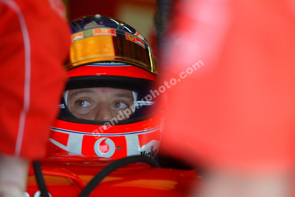 Rubens Barrichello in his Ferrari during practice for the 2004 Italian Grand Prix at Monza. Photo: Grand Prix Photo
