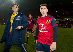 January 21, 2017 - Limerick, Ireland - Jack O'Donoghue and Ian Keatley celebrates after the European Rugby Champions Cup Round 6 match between Munster Rugby and Racing 92 at Thomond Park Stadium in Limerick, Ireland on January 21, 2017  (Credit Image: © Andrew Surma/NurPhoto via ZUMA Press)