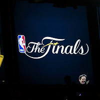 01 June 2017: Close view of the NBA Finals logo next to a Steve Kerr big head during the Golden State Warriors 113-90 victory over the Cleveland Cavaliers, in game 1 of the 2017 NBA Finals, at the Oracle Arena, Oakland, California, USA.