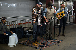 EXCLUSIVE: Maroon 5 with Adam Levine and Jimmy Fallon perform in disguise in the Rockefeller Center Subway Station in New York City, NY on Wednesday November 1, 2017. They appear to be doing scene for the Tonight Show to coincide with Levine's appearance on Monday night. 01 Nov 2017 Pictured: Adam Levine, Jimmy Fallon, James Valentine. Photo credit: MEGA TheMegaAgency.com +1 888 505 6342