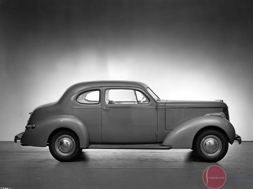 Factory publicity shot of a 1938 Studebaker President Coupe.  1938 was the first year of Raymond Loewy Associates-designed Studebaker automobiles.