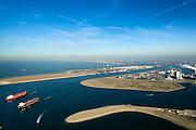 Nederland, Zuid-Holland, Rotterdam, 18-02-2015; Tweede Maasvlakte met de Prinses Alexiahaven (voorgrond), en olietankers voor anker in de Prinses Prinses Arianehaven. Middenplan de eerste Maasvlakte met  centrales van E.ON, links de Yangtzehaven.<br /> Maasvlakte 2 (MV2), extension of the Port of Rotterdam, new harbors and constructing of container terminals.<br /> luchtfoto (toeslag op standard tarieven);<br /> aerial photo (additional fee required);<br /> copyright foto/photo Siebe Swart