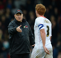 Leyton Orient Manager, Russell Slade shakes hand with Milton Keynes Dons' Dean Lewington after the game - Photo mandatory by-line: Mitchell Gunn/JMP - Tel: Mobile: 07966 386802 12/10/2013 - SPORT - FOOTBALL - Brisbane Road - Leyton - Leyton Orient V MK Dons - League One