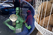 Creepy green naked mannequin witch character with an old boxing belt sits in the window of a second hand curiosities shop in Kings Heath on 23rd January 2021 in Birmingham, United Kingdom. A sign sits on the chair with the figure which reads hope this doesnt end up on Facebook.