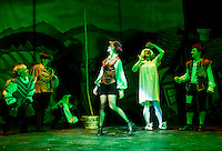 Snatchit and Grabbit played by Lynn T. Dadian and Ursula Minich Boutwell, Rebecca Tucker as Jack Trot, Mark Stephen Woods as Dame Dottie Trot, Jack Harding as Billy Trot during dress rehearsal for the Winnipesaukee Playhouse pantomime producation of Jack and the Beanstalk.  (Karen Bobotas/for the Laconia Daily Sun)