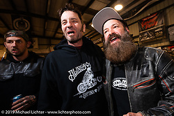 Johnny Humphrey and Scott Koonts at the Industry party at Bill Dodge's Blings Cycles shop during Daytona Bike Week. Daytona Beach, FL. USA. Wednesday March 14, 2018. Photography ©2018 Michael Lichter.