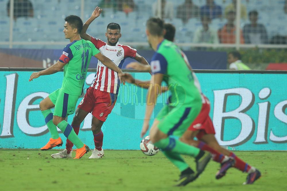 Jayesh Rane of ATK reacts during match 24 of the Hero Indian Super League 2018 ( ISL ) between ATK and Bengaluru FC held at the Yuba Bharati Krirangan stadium (Salt Lake Stadium) in Salt Lake Kolkata, India on the 31st October<br /> <br /> Photo by: Deepak Malik /SPORTZPICS for ISL