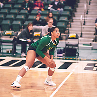 2nd year libero, Sierra Parris-Kruger (15) of the Regina Cougars during the Women's Volleyball pre-season game on Sat Sep 22 at Centre for Kinesiology, Health & Sport. Credit: Arthur Ward/Arthur Images
