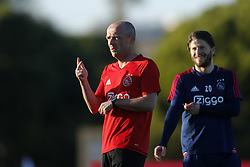 (L-R), Assistant trainer Alfred Schreuder of Ajax, Lasse Schone of Ajax during a training session of Ajax Amsterdam at the Cascada Resort on January 08, 2018 in Lagos, Portugal