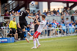 June 13, 2018 - San Jose, CA, U.S. - SAN JOSE, CA - JUNE 13: San Jose Earthquakes Defender Francois Affolter (3) and New England Revolution Forward Krisztian Nemeth (9) challenge for the ball during the MLS game between the New England Revolution and the San Jose Earthquakes on June 13, 2018, at Avaya Stadium in San Jose, CA. The game ended in a 2-2 tie. (Photo by Bob Kupbens/Icon Sportswire) (Credit Image: © Bob Kupbens/Icon SMI via ZUMA Press)
