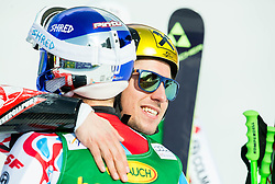 PINTURAULT Alexis of France and HIRSCHER Marcel of Austria celebrate during  Men Giant Slalom race of FIS Alpine Ski World Cup 54th Vitranc Cup 2015, on March 14, 2015 in Kranjska Gora, Slovenia. Photo by Vid Ponikvar / Sportida