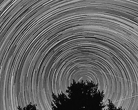North View Star Trails. Summer Night in New Jersey. Image taken with a Nikon D3s and 24 mm f/1.4G lens (ISO 400, 24 mm, f/4, 30 sec). Composite of 326 images combined using the Startrails program. Converted to B/W with Nik Silver Efex Pro 2.