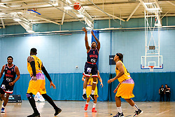 Panos Mayindombe of Bristol Flyers shoots - Photo mandatory by-line: Robbie Stephenson/JMP - 10/04/2019 - BASKETBALL - UEL Sports Dock - London, England - London Lions v Bristol Flyers - British Basketball League Championship