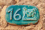 Israel, Jaffa, Ceramic numbers zodiac signs the number sixteen