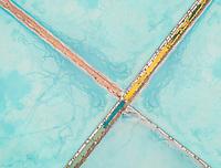 Aerial abstract view of colourful saline lakes, Cagliari, Sardinia.