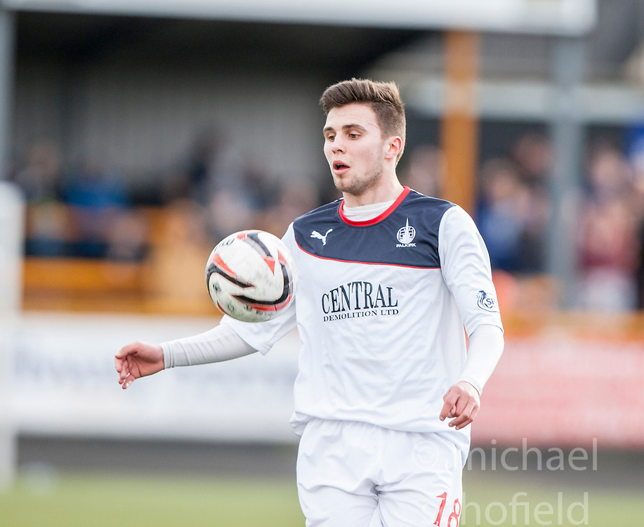 Falkirk's Lewis Small.<br /> Alloa Athletic 3 v 0 Falkirk, Scottish Championship game played today at Alloa Athletic's home ground, Recreation Park.<br /> © Michael Schofield.