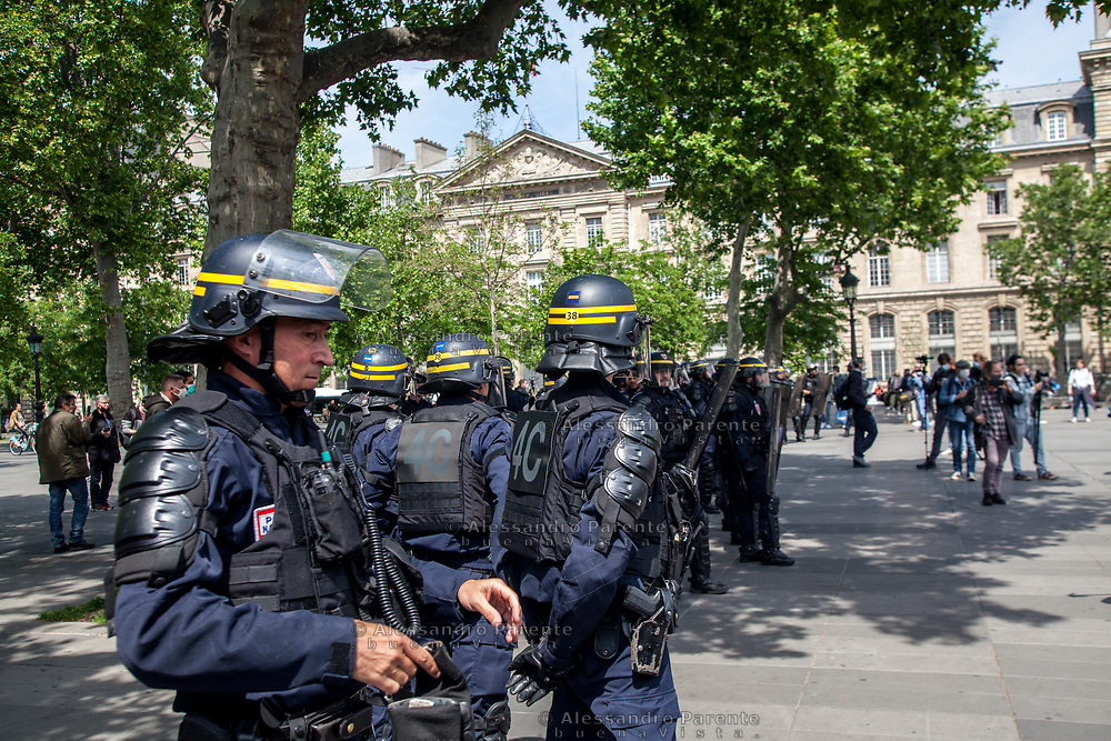 """Paris, Place Republique. The movement of the yellow vests, the """"gilets jaunes"""" are coming back, for the first Saturday after the lock down, about 10 protesters met each others in Republic square, which has been militarized has always. The government wants to show that it's ready to a new repression."""