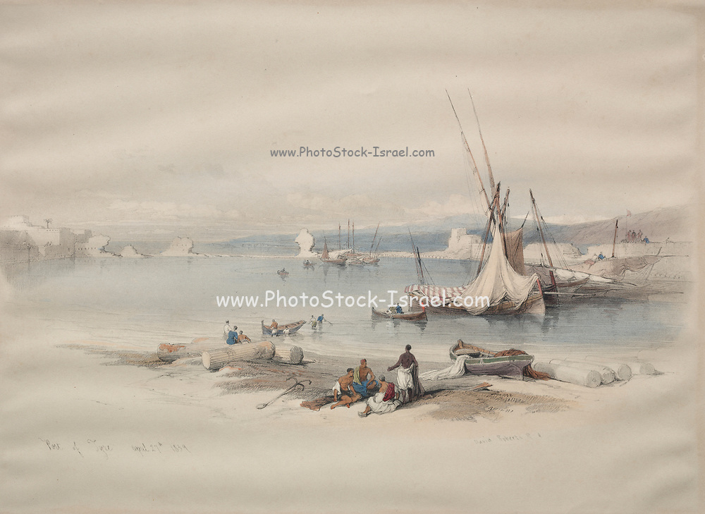 Port of Tyre Watercolor painting by David Roberts (1796-1864). An engraving reprint by Louis Haghe was published in a the book 'The Holy Land, Syria, Idumea, Arabia, Egypt and Nubia. in 1855 by D. Appleton & Co., 346 & 348 Broadway in New York.