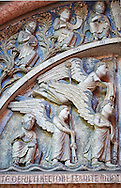 West portal lunette relief sculptures depicting  angels  on the Romanesque Baptistery of Parma, circa 1196, (Battistero di Parma), Italy .<br /> <br /> If you prefer you can also buy from our ALAMY PHOTO LIBRARY  Collection visit : https://www.alamy.com/portfolio/paul-williams-funkystock/romanesque-art-antiquities.html<br /> Type -     Parma    - into the LOWER SEARCH WITHIN GALLERY box. <br /> <br /> Visit our ROMANESQUE ART PHOTO COLLECTION for more   photos  to download or buy as prints https://funkystock.photoshelter.com/gallery-collection/Medieval-Romanesque-Art-Antiquities-Historic-Sites-Pictures-Images-of/C0000uYGQT94tY_Y