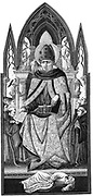 St Augustine of Hippo (350-430) one of great Fathers of early Christian church. Converted 386, bishop of Hippo 396. Shown with monk's habit under bishop's robes. At his feet is Aristotle whose idea of eternity of matter he refuted. 19th century engraving