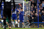 Andreas Christensen of Chelsea (1R) fouls Riyad Mahrez of Leicester City (2R). Premier League match, Chelsea v Leicester City at Stamford Bridge in London on Saturday 13th January 2018.<br /> pic by Steffan Bowen, Andrew Orchard sports photography.