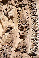 West Facade, Left Portal archivolts c. 1145. Cathedral of Chartres, France. Gothic statues of the archivolts on which are the Signs of the Zodiac and the Labors of the Months. See Fassler, pp 507-10.. A UNESCO World Heritage Site. . .<br /> <br /> Visit our MEDIEVAL ART PHOTO COLLECTIONS for more   photos  to download or buy as prints https://funkystock.photoshelter.com/gallery-collection/Medieval-Middle-Ages-Art-Artefacts-Antiquities-Pictures-Images-of/C0000YpKXiAHnG2k