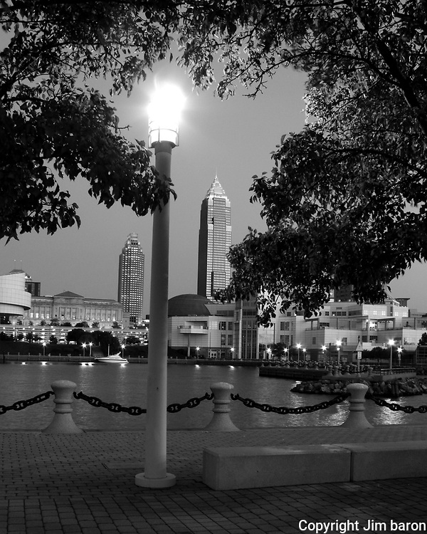 Black and white view of Cleveland, Ohio skyline from the inner harbor