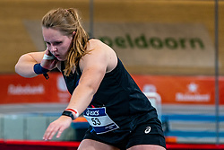 Jessica Schilder in action on shot put during limit matches to be held simultaneously with the Dutch Athletics Championships on 13 February 2021 in Apeldoorn