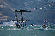 Team Korea capsizes during practice sailing on Saturday before the start of ACWS SF#1.