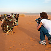 Woman photographing camels in the Sahara Desert, Morroco