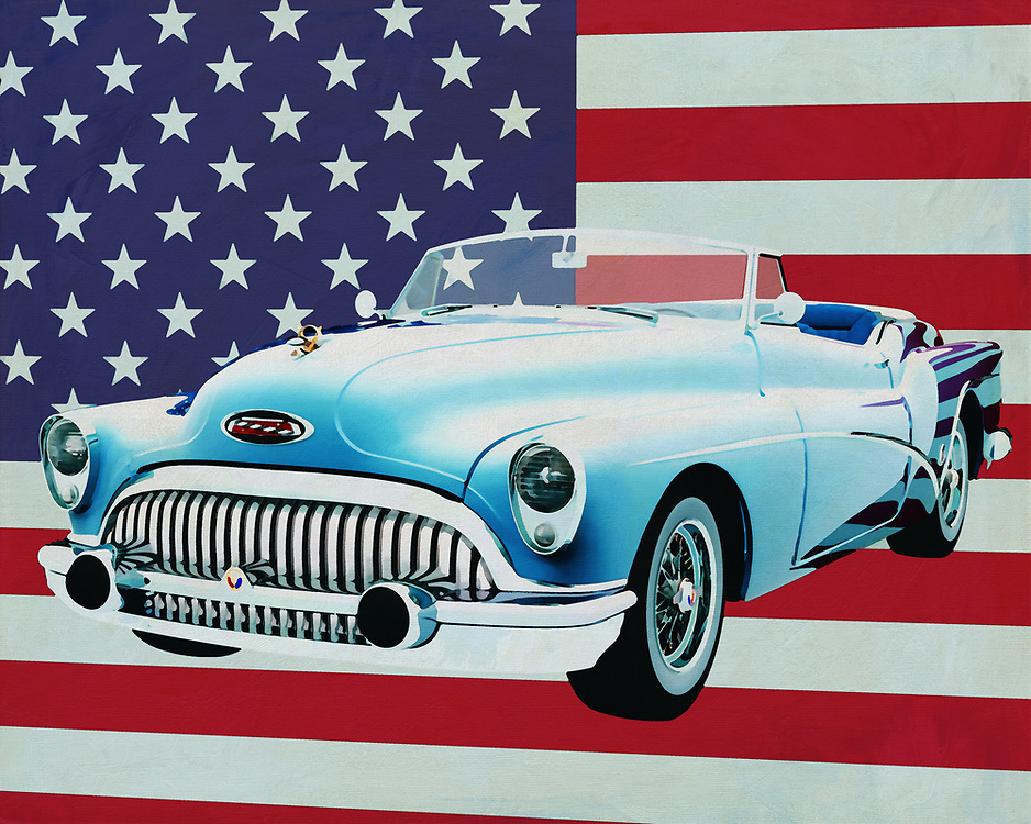 The Buick Skylark from 1956 is very American. Big, lots of space and a powerful engine. In the 50's of last century that was more the case in the U.S.A. Because it was the time that the car really broke through; If you know that the U.S.A. is very vast you need a car that can drive the many kilometers and that this should be done in luxury.<br /> <br /> This painting of the 1956 Buick Skylark Convertible in front of the American flag can be purchased in various sizes and printed on canvas as well as wood and metal. You can also have the painting finished with an acrylic plate over it which gives it more depth. -<br /> -<br /> BUY THIS PRINT AT<br /> <br /> FINE ART AMERICA<br /> ENGLISH<br /> https://janke.pixels.com/featured/buick-skylark-convertible-1956-with-flag-of-the-usa-jan-keteleer.html<br /> <br /> <br /> WADM / OH MY PRINTS<br /> DUTCH / FRENCH / GERMAN<br /> https://www.werkaandemuur.nl/nl/shopwerk/Buick-Skylark-Convertible-1956-met-vlag-van-de-V-S-/664473/132?mediumId=1