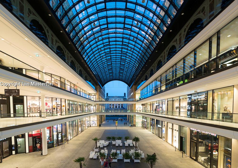 View of new Mall of Berlin shopping mall in Potsdamer Platz Berlin Germany
