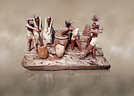 Ancient Egyptian wooden model of bread making, Middle Kingdom, (1939-1875 BC),  Egyptian Museum, Turin. <br /> <br /> Wooden tomb models were an Egyptian funerary custom throughout the Middle Kingdom in which wooden figurines and sets were constructed to be placed in the tombs of Egyptian royalty. These wooden models represented the work of servants, farmers, other skilled craftsman, armies, and religious rituals .<br /> <br /> If you prefer to buy from our ALAMY PHOTO LIBRARY  Collection visit : https://www.alamy.com/portfolio/paul-williams-funkystock/ancient-egyptian-art-artefacts.html  . Type -   Turin   - into the LOWER SEARCH WITHIN GALLERY box. Refine search by adding background colour, subject etc<br /> <br /> Visit our ANCIENT WORLD PHOTO COLLECTIONS for more photos to download or buy as wall art prints https://funkystock.photoshelter.com/gallery-collection/Ancient-World-Art-Antiquities-Historic-Sites-Pictures-Images-of/C00006u26yqSkDOM