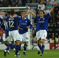 Photo: Daniel Hambury<br /> The Coca Cola Championship<br /> Derby County V Leicester City 11/08/2004<br /> <br /> Leicester City's Lilian Nalis (8) celebrates his goal<br /> <br /> NORWAY ONLY