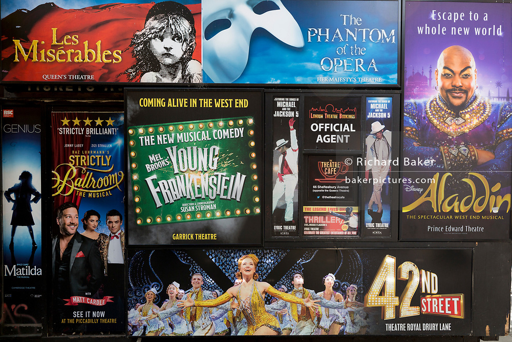 London theatreland productions booking office posters on 15th August 2017, in London, England.