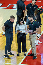 BLOOMINGTON, IL - October 23: Jake Barreau, Leah Johnson  and Mike Becker during a time out during a college Women's volleyball match between the ISU Redbirds and the Drake Buldogs on October 23 2021 at Illinois State University in Normal, IL. (Photo by Alan Look)