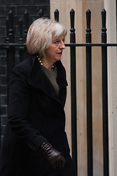 London, February 10th 2015. Ministers arrive at the weekly cabinet meeting at 10 Downing Street. PICTURED: Home Secretary Theresa May