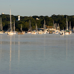 Sailboats on the Connecticut River in Essex, Connecticut.  The Nature Conservancy's Turtle Cove Preserve.