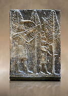 Stone relief sculptured panel of a a bird hunt. Inv AO 19886 from Dur Sharrukin the palace of Assyrian king Sargon II at Khorsabad, 713-706 BC.  Louvre Museum Room 4 , Paris .<br /> <br /> If you prefer to buy from our ALAMY PHOTO LIBRARY  Collection visit : https://www.alamy.com/portfolio/paul-williams-funkystock/ancient-assyria-antiquities.html  Refine search by adding background colour, place, subject, museum etc into the LOWER SEARCH WITHIN GALLERY box to <br /> <br /> Visit our ANCIENT WORLD PHOTO COLLECTIONS for more photos to download or buy as wall art prints https://funkystock.photoshelter.com/gallery-collection/Ancient-World-Art-Antiquities-Historic-Sites-Pictures-Images-of/C00006u26yqSkDOM