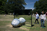 Frieze Sculpture 2017 opens to the public on July 5th 2017 in the English Gardens in Regents Park, London, England, United Kingdom. This is London's largest showcase of major outdoor works by leading artists and galleries, presenting a free outdoor exhibition for London and its international visitors throughout the summer months. Alicja Kwade,<br /> Big Be-Hide 2017.