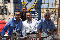 VIPs having lunch with Patrick Lim (C). Portimao Portugal Match Cup 2010. World Match Racing Tour. Portimao, Portugal. 25 June 2010. Photo: Gareth Cooke/Subzero Images