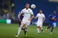 Pontus Jansson of Leeds Utd in action.EFL Skybet championship match, Cardiff city v Leeds Utd at the Cardiff city stadium in Cardiff, South Wales on Tuesday 26th September 2017.<br /> pic by Andrew Orchard, Andrew Orchard sports photography.