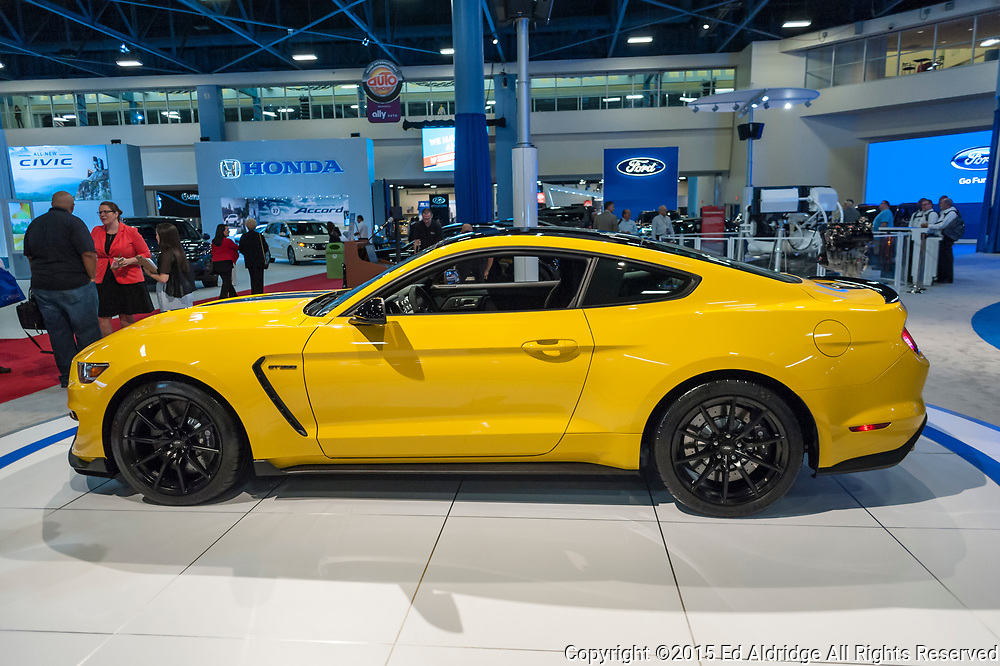 MIAMI BEACH, FL, USA - NOVEMBER 6, 2015:  Ford Shelby GT350 on display during the 2015 Miami International Auto Show at the Miami Beach Convention Center in downtown Miami Beach.