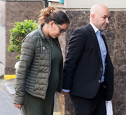 © Licensed to London News Pictures. 21/05/2018. London, UK. ANDREIA GOMES and MARCIA GOMES arrive for the start of the Grenfell inquiry commemoration hearings. The couple lost their unborn baby son LOGAN ISSAC in the disaster. Each of the 71 victims of the Grenfell Tower fire will be commemorated to mark the start of evidence being heard by the public inquiry into the tragedy. Photo credit: Ray Tang/LNP