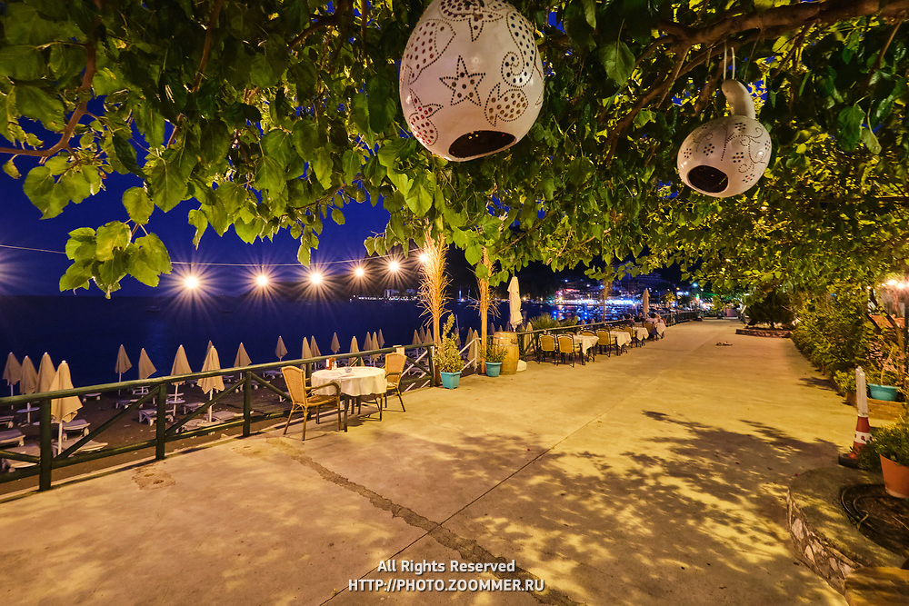 Main street and cafes near the sea in Turunc, Turkey