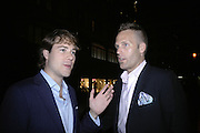 HUD MORGAN AND ERIK HOOPINGARNER, De Grisogono & Londino Car Rally  party. <br />Pal Zileri, Hans Crescent London, W1, 22 August. Launch of car rally which takes drivers through London, France, Switzerland and finally to Portofino .  -DO NOT ARCHIVE-© Copyright Photograph by Dafydd Jones. 248 Clapham Rd. London SW9 0PZ. Tel 0207 820 0771. www.dafjones.com.