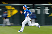Kansas City Royals pitcher Jeremy Guthrie runs before a baseball game against the Tampa Bay Rays at Kauffman Stadium in Kansas City, Thursday, May 2, 2013.  (AP Photo/Colin E. Braley).