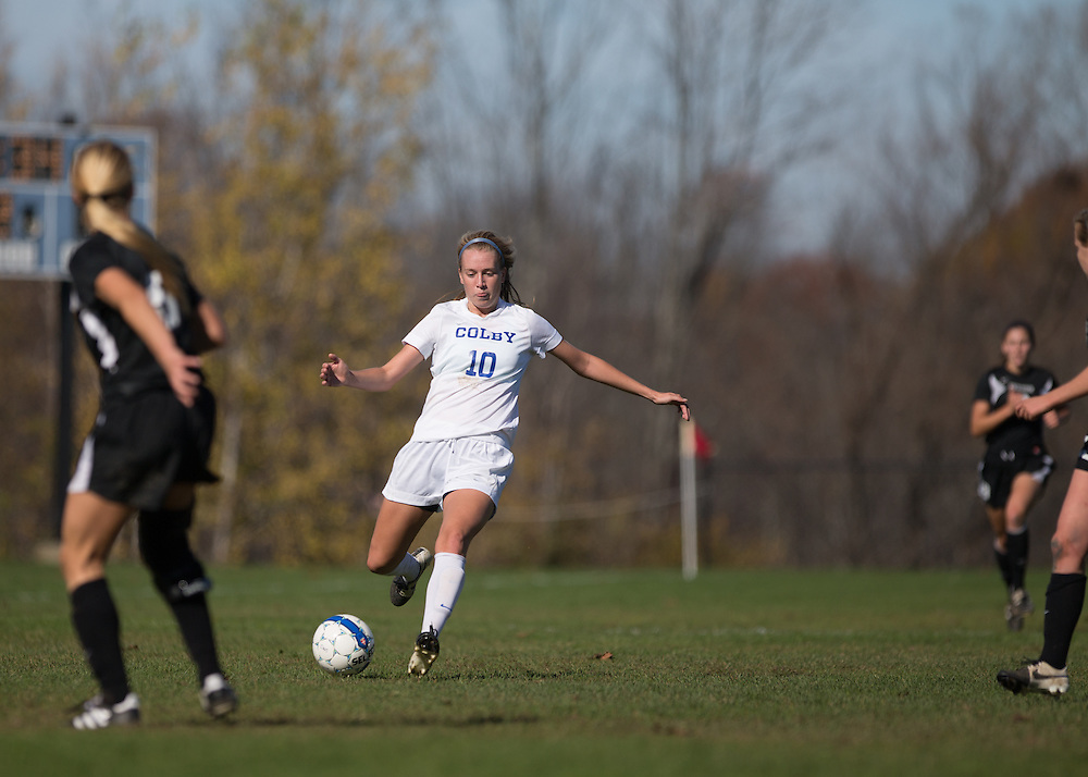 Ally Ingraham, of Colby College, during a NCAA Division III women's soccer game on October 25, 2014 in Waterville, ME. (Dustin Satloff/Colby College Athletics)